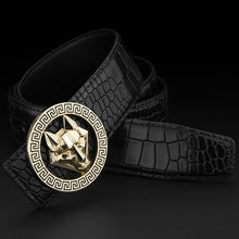 Load image into Gallery viewer, Mens Luxury Genuine Leather Cowhide Belt w/ Round Metal Wolf Pattern