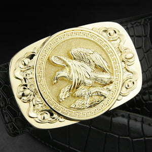 Mens Genuine Leather Cowskin belt w/ Square Metal Eagle Buckle