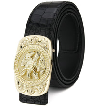 Load image into Gallery viewer, Mens Genuine Leather Cowskin belt w/ Square Metal Eagle Buckle