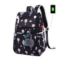 Load image into Gallery viewer, Girl's USB Charging Retro Print Backpack with Pom-Poms