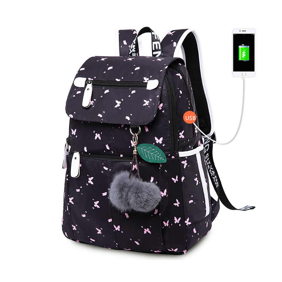 Girl's USB Charging Retro Print Backpack with Pom-Poms