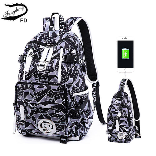 Anti-Theft Waterproof Retro Print USB Charging Backpack