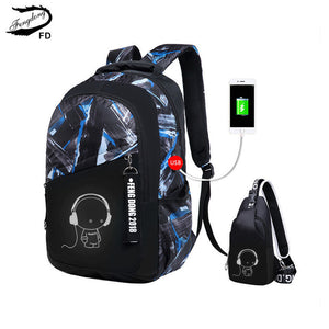 2-Piece Cartoon Print USB Backpack & Chest Bag Set