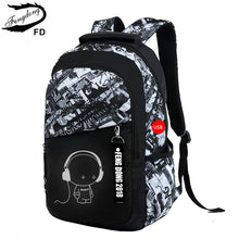 Load image into Gallery viewer, 2-Piece Cartoon Print USB Backpack & Chest Bag Set