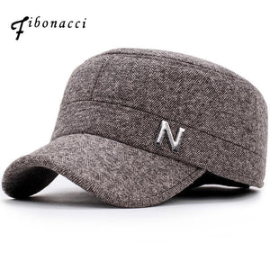 FIBONACCI Classic Adjustable Fit Letter Pattern Military Cap with Ear Flap