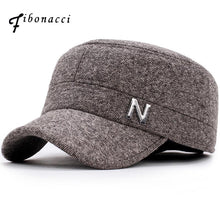 Load image into Gallery viewer, FIBONACCI Classic Adjustable Fit Letter Pattern Military Cap with Ear Flap