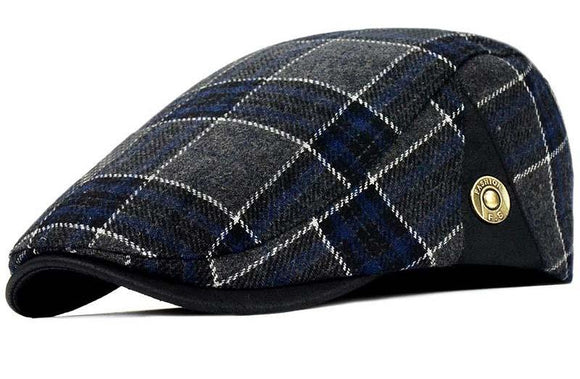 Mens Retro Plaid British Style Newsboy Duckbill