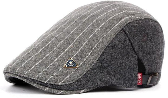 Striped Wool Adjustable Newsboy Caps