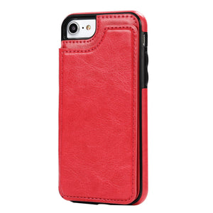 Flip Case for iPhone 6,7 ,8 Plus X Case-Leather Card Slot Holster- Cover for Samsung S7 Edge S8