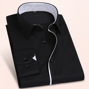 Mens Long Sleeve Solid Pattern Formal Dress Shirt