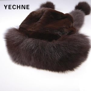 Womens Pom Pom Ear Faux Fur Princess Bomber Hat