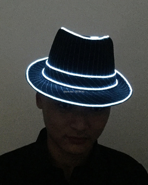 LED Neon Light Glow Fedoras Powered by DC-1.5V