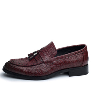 Mens Leather Pointed Toe Tasseled Alligator Loafers
