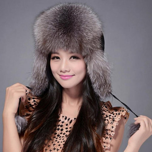 Womens Winter  Fox Fur Ear Protected Bomber Hat