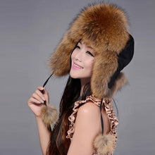 Load image into Gallery viewer, Womens Winter  Fox Fur Ear Protected Bomber Hat