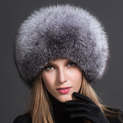 Womens 100% Natural Fox Fur Hat