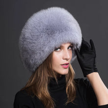 Load image into Gallery viewer, Womens 100% Natural Fox Fur Hat