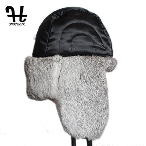 Mens Russian Style Winter Leather And Sheep Bomber Hat