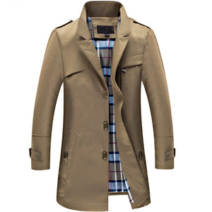 Single-Breasted Casual Canvas Business Trench Coat* (M-4XL)