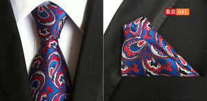 Mens Jacquard Woven Silk Ties w/Pocket Square Sets