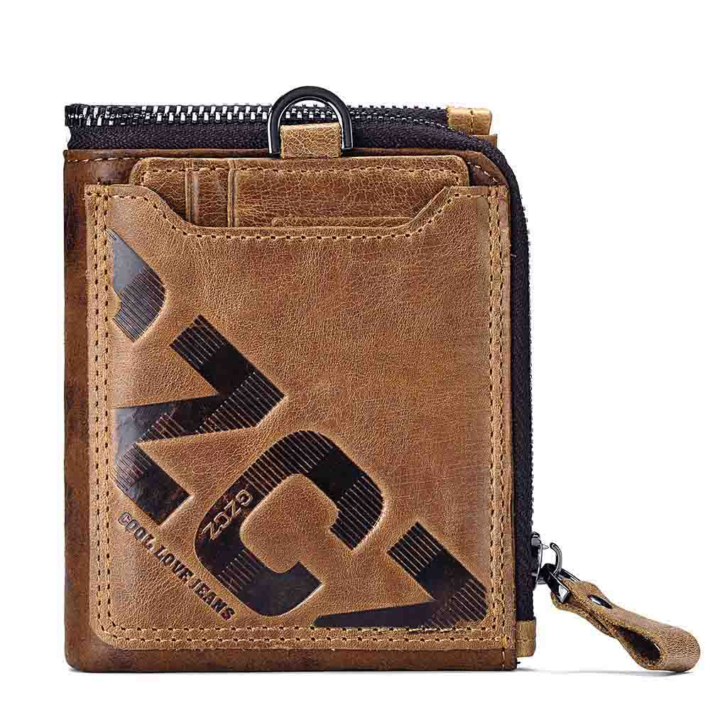 Genuine Leather Wallet w/Card Holder- Small Wallet  Clutch Zipper Clamp For Money
