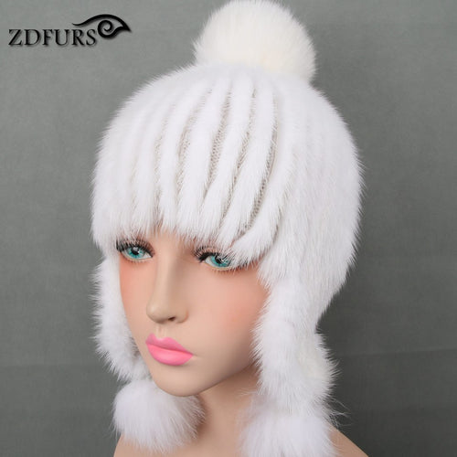 Womens Genuine Mink Fur Hat w/ 3 Fox Fur Balls
