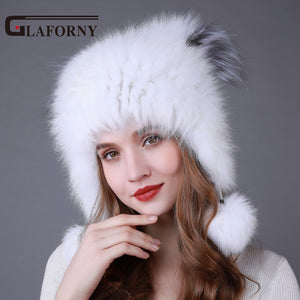32717ff3466 Knitted Fox Fur Bomber Pompoms Ear Protector Silver Fox Fur Top Caps
