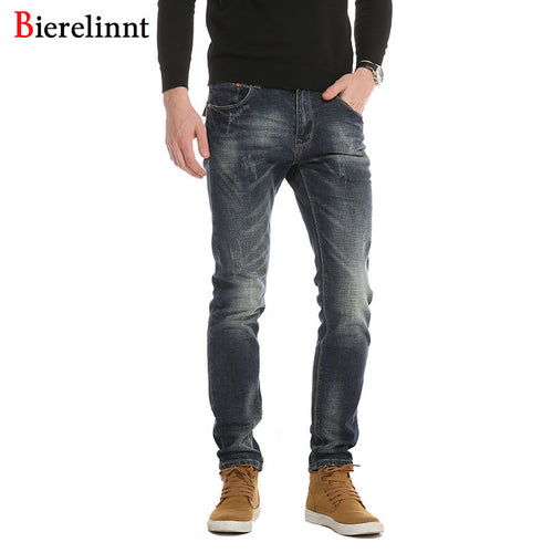 Mens New Stone Washed Denim Straight Leg Jeans