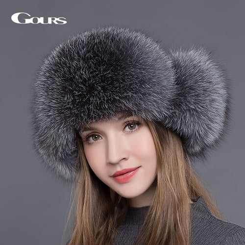 Womens Russian Style Natural Fox Fur Winter Bomber Cap