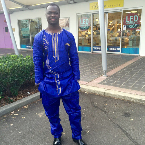 Mens African Embroidered Bazin Riche Traditional Suit