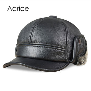 Mens Genuine Leather Russian Style Baseball Cap