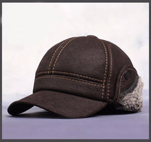 Load image into Gallery viewer, Mens Genuine Leather Russian Style Baseball Cap