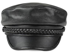 Load image into Gallery viewer, Genuine deer Leather Rider Style  newsboy- Cowhide  Army Cap Box Hat- Cadet Visor