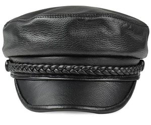 Genuine deer Leather Rider Style  newsboy- Cowhide  Army Cap Box Hat- Cadet Visor