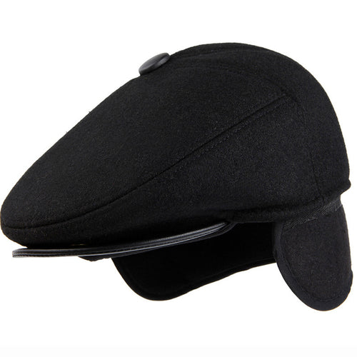 Vintage Wool Felt Beret Cap- Winter Hat w/Ear Flap -Thick Ivy Flat Newsboy