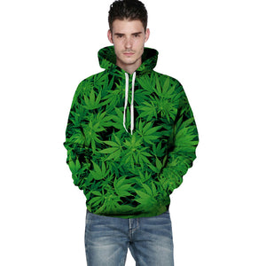 Mens 3D Weed Leaves Print Hooded Pullover