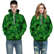 Load image into Gallery viewer, Mens 3D Weed Leaves Print Hooded Pullover