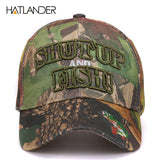 "Mens 3D Embroidered ""SHUT UP AND FISH"" Camo Hat"