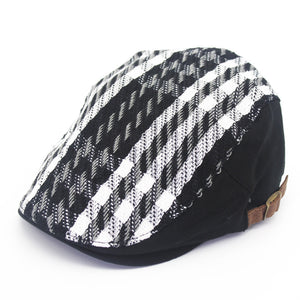 Mens Black And White Checkered Retro Beret*