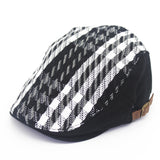 Mens Black And White Checkered Retro Beret