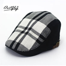 Load image into Gallery viewer, Mens Black And White Checkered Retro Beret*