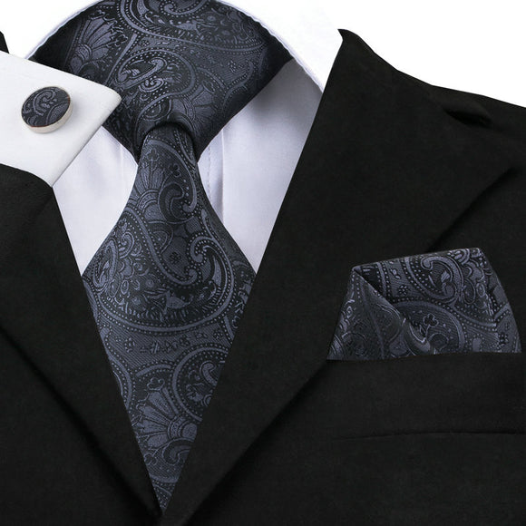 Mens Jacquar Paisley Silk Woven 3-Piece Tie Set*