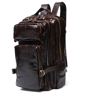 Oiled And Waxed Genuine Leather Mountaineering Backpack