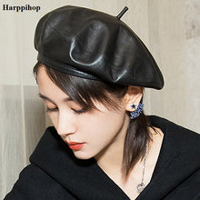 Load image into Gallery viewer, Womens Leather/ Sheepskin Lat Gatsby Hat