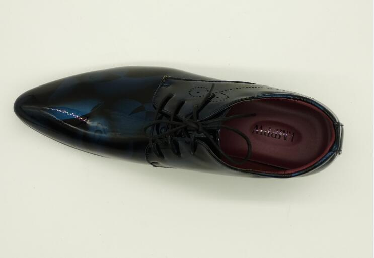 Mens Patent Leather Lace Up Retro Print Oxfords