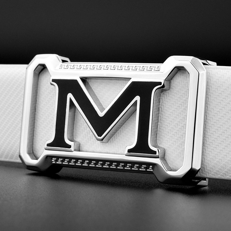 Mens Genuine Leather Cowhide Belt With Letter M Buckle Design