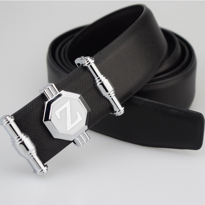 Mens Genuine Leather Cowhide Belt With Letter Buckle Design