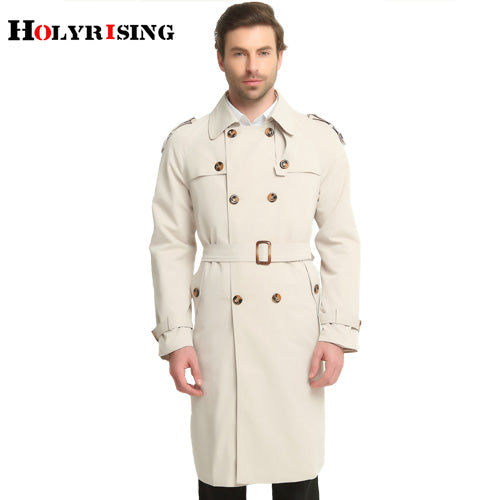 Beige Classic Slim Fit Double-Breasted British Trench Coat* (S-6XL)