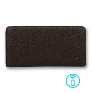 Genuine Leather USB Charging Smart Wallet for Cellphone Long Bluetooth Wallets Anti Lost Selfie Purse