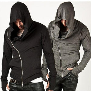 Mens Side Zipper Hooded Streetwear Sweatshirt